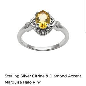 Jewelry - Sterling silver genuine citrine & diamond ring, 7